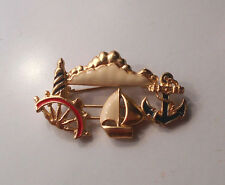 Vintage Nautical Sailboat Lighthouse Anchor Brooch Pin The Boat Slides tb-8