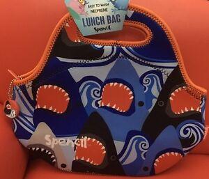 Spencil Cooler Lunch Bag Washable,School Office Picnic-Neoprene Sharks