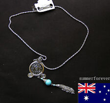 Pretty Jewelry Tibetan Silver Round Turquoise Pendant Warp Blue Crystal Necklace