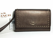 Coach Bronze Leather Wristlet Wallet w/ Goldtone Rivets fits iPhone 8 F66194 NWT