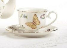 Delton Porcelain Tea Cup & Saucer for 2 Gift Set BUTTERFLY