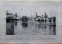 1915 WWI WW1 PRINT SUBMARINE TURQUOISE AT CONSTANTINOPLE RENAMED IN TURKISH