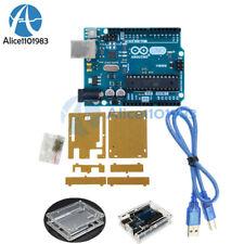 Original UNO R3 ATmega328 USB Official Genuine Arduino Board+Acrylic Case+Cable