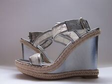 Stuart Weitzman Guipure Wedge Sandals Aluminum Guipure Lace Women's 9.5