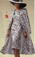 size 12 Silver Jacquard Woman Formal Suit Ashro Evening Duster Jacket Dress