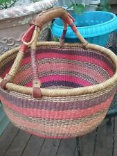 Handmade Multi Colored Basket With Leather Binding