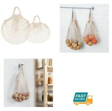 IKEA Kitchen Food Net Bag 2 Storage Bags 100% Cotton Fresh Fruits and Vegetables