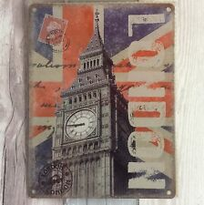 Vintage London Big Ben Union Jack Metal Wall Sign Hanging Sign Letter Stamp