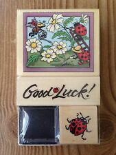Set of 3 PSX Ladybug Gardeners Good Luck Rubber Stamps Lot SK601 New