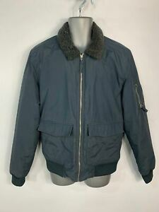 MENS NEXT NAVY BLUE CASUAL ZIP PADDED WINTER BOMBER POCKETS JACKET COAT SIZE L