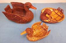 3 Vintage Woven Wicker Duck Brown Baskets Wood Beaks Set/Lot Country Farm Decor