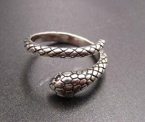 Bague Réglable Anneau Serpent en Argent 925 et Oeil de Serpent Zirconium