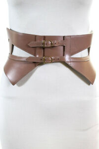 Herve Leger Womens Cut Out Leather Buckle Waist Belt Tan Size Extra Small/Small
