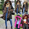 UK Sale Womens Ladies Army Parka Coat Winter Lined Fur Jacket Hooded Overcoat