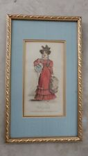 Antique print handcolored art nouveau Victorian lady dress hat gold frame vanity