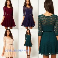 Sexy Womens Spoon Neck  Lace Sakter Dress Slim Fit Party Evening Dress #030
