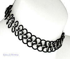 NARROW Steel and Rubber Chain Mail Choker by SINPATIKO * Goth Punk Emo