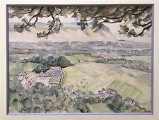 Rageade André aquarelle et encre signée paysage campagne village vallon France