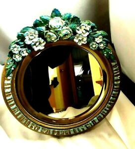 RARE Antique Balboa Floral Decorated Table Top Stand Beveled Glass Mirror