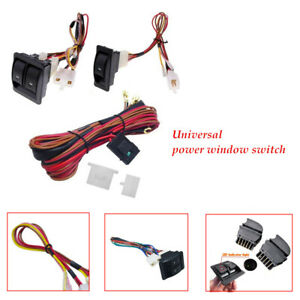 Car Electric Power Window Switch & 12V Wire Harness Kits Universal Door Panels
