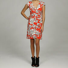 NEW Connected Apparel Orange Multicolos Sz 10 Floral Wrapped V neck Ruched Dress