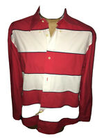 Tommy Hilfiger Red,White, Blue Long Sleeve Casual Dress Shirt Mens Size Med EUC