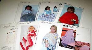 LOT of 7 Knitting yarn Baby patterns BLANKETS Ponchos TODDLER JUMPER Cardigan