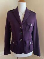 Talbots Petites Womens Small PS Blazer Jacket Cotton Purple Long Sleeve EUC