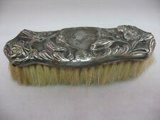 Vintage Silver Plated Great ROSE FLOWER Design BRUSH ~ Engraved ~ Nice Patina ~