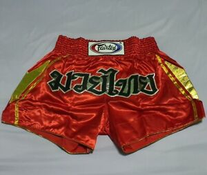 SHORTS FAIRTEX BS0606 MUAY THAI FIGHT BOXING MMA RED GOLD XL SATIN ADULT