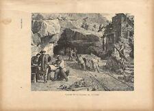 Stampa antica SAN GOTTARDO GOTHARD realizzazione del tunnel 1885 Antique print
