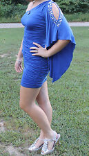 Gorgeous Jeweled Blue fitted short formal Prom/Homecoming dress sz S  *LOOK*