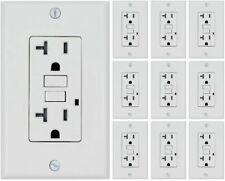 10 PACK 20AMP GFCI RECEPTACLE WALL OUTLET TAMPER RESISTANT 2015 UL WHITE