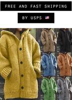 US Women Autumn Winter Hooded Knit Cardigan Sweater Knitwear Chunky Jacket Coat