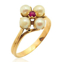 Bague vintage ancienne or jaune 18k perles rubis yellow gold 18 carat pearl ruby