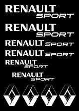 Kit de 10 Sticker Logo + RENAULT SPORT  Couleur BLANC Clio RS