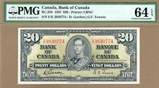CANADA: 20 Dollars Banknote,(UNC PMG64),P-62b, BC-25b,1937,No Reserve!