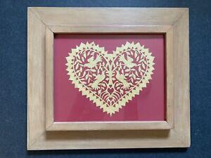 Vintage scherenschnitte bird and heart silhouette valentine framed