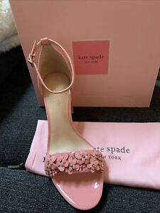 Kate Spade Ladies Paradisi Floral Beaded Patent Pink Leather Shoe Size 9.5