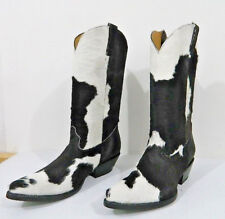 calf hair leather cowboy boots white and black OR brown spots made to order.