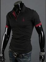 moda uomo slim Maglia Polo Cotone Manica Corta Casual T-shirt t-shirt top NUOVO