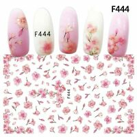 Nail Art Water Decals Stickers Transfers Spring Summer Pink Flowers Floral F444