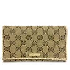 GUCCI GG Logo Beige Canvas Leather Long Bifold Wallet /B0133