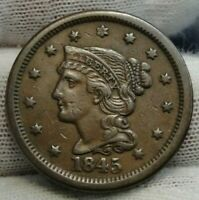 1845 Large Cent Penny, Braided Hair Penny - High Grade Coin Free Shipping (8902)