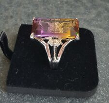 GORGEOUS AMETRINE STERLING SILVER WHITE GOLD-PLATED RING SZ 8