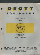 DROTT 4 IN 1 ON HOUGH H100 PAYLOADER PARTS INSTRUCTION BOOK