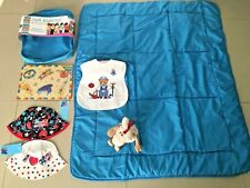 U GET ALL 6 NEW TRAVEL PLAY MAT QUILT BLANKET & CASE 2 BUCKET HATS & BIB & TOYS