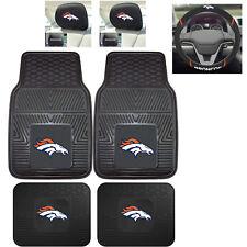 7pc NFL Denver Broncos Heavy Duty Rubber Floor Mats & Steering Wheel Cover