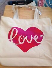 2016 Bath and Body Works Love Valentines Canvas Tote bag Purse SALE
