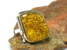AMBER  Sterling  Silver  925  Gemstone  RING  -  Size: Q